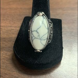 Silver white turquoise statement ring size 9